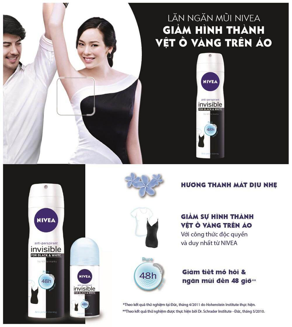 Xịt khử mùi nivea black and white